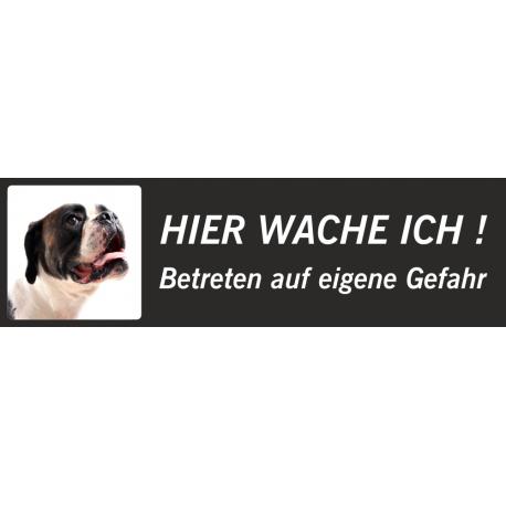 """Boxer """"Hier wache ich""""-Schild (schwarz, niedriges Modell)"""