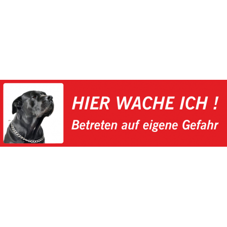 """Italian Mastiff """"Hier wache ich""""-Schild (rot, niedriges Modell)"""