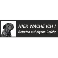 """Schwarzer Bullmastiff """"Hier wache ich""""-Schild (schwarz, niedriges Modell)"""