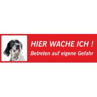 "English Setter ""Hier wache ich""-Schild (rot, niedriges Modell)"