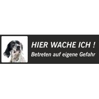 """English Setter """"Hier wache ich""""-Schild (schwarz, niedriges Modell)"""