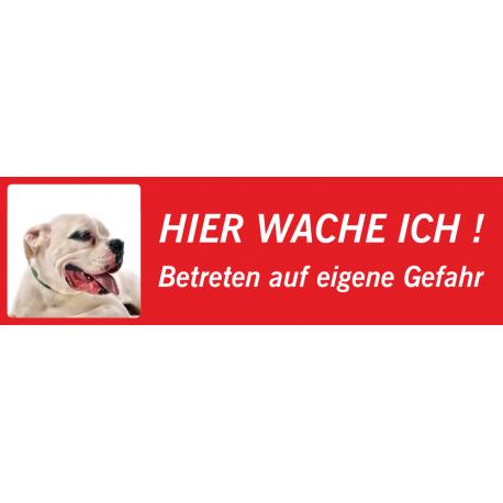 """Dogo Argentino """"Hier wache ich""""-Schild (rot, niedriges Modell)"""