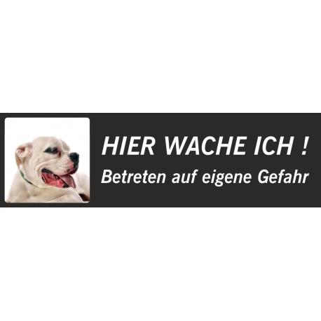 """Dogo Argentino """"Hier wache ich""""-Schild (schwarz, niedriges Modell)"""