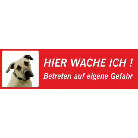 """Amerikanische Mastiff """"Hier wache ich""""-Schild (rot, niedriges Modell)"""