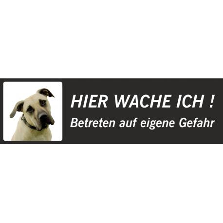"""Amerikanische Mastiff """"Hier wache ich""""-Schild (schwarz, niedriges Modell)"""