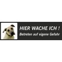 """Anatolischer Hirtenhund """"Hier wache ich""""-Schild (schwarz, niedriges Modell)"""