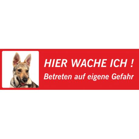 """Tschechoslowakischer Wolfhund """"Hier wache ich""""-Schild (rot, niedriges Modell)"""