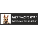 """Saarlooswolfhund (Welpe) """"Hier wache ich""""-Schild (schwarz, niedriges Modell)"""