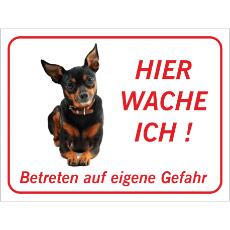 """Zwergpinscher """"Hier wache ich""""-Aufkleber (rot)"""