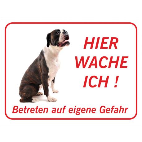 """Boxer """"Hier wache ich""""-Aufkleber (rot)"""