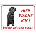 """Schwarzer Bullmastiff """"Hier wache ich""""-Aufkleber (rot)"""