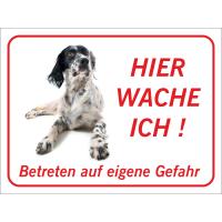 """English Setter """"Hier wache ich""""-Aufkleber (rot)"""