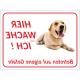 "Labrador Retriever ""Hier wache ich""-Aufkleber (rot)"