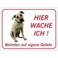 """Anatolischer Hirtenhund """"Hier wache ich""""-Aufkleber (rot)"""
