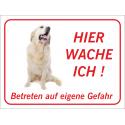 """Golden Retriever """"Hier wache ich""""-Aufkleber (rot)"""