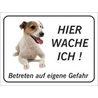 """Jack Russell Terrier """"Hier wache ich""""-Aufkleber (schwarz)"""
