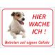 """Jack Russell Terrier """"Hier wache ich""""-Aufkleber (rot)"""