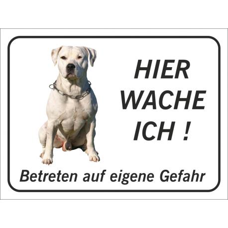 """Perro Pitbull """"Hier wache ich""""-Aufkleber (schwarz)"""