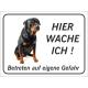 """Rottweiler """"Hier wache ich""""-Aufkleber (schwarz)"""
