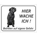 """Schwarzer Bullmastiff """"Hier wache ich""""-Aufkleber (schwarz)"""