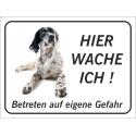 """English Setter """"Hier wache ich""""-Aufkleber (schwarz)"""