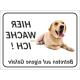 """Labrador Retriever """"Hier wache ich""""-Aufkleber (schwarz)"""