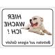 """Dogo Argentino """"Hier wache ich""""-Aufkleber (schwarz)"""