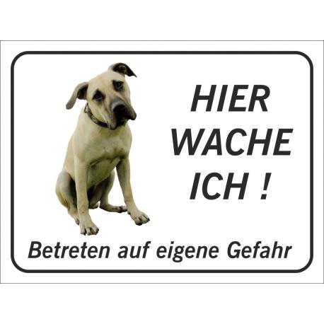 """Anatolischer Hirtenhund """"Hier wache ich""""-Aufkleber (schwarz)"""