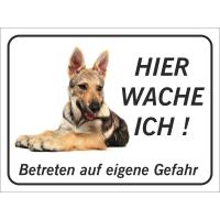 """Saarlooswolfhund (Welpe) """"Hier wache ich""""-Aufkleber (schwarz)"""