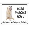 """Golden Retriever """"Hier wache ich""""-Aufkleber (schwarz)"""