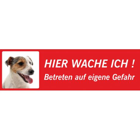 "Jack Russell Terrier ""Hier wache ich""-Aufkleber (rot, niedriges Modell)"