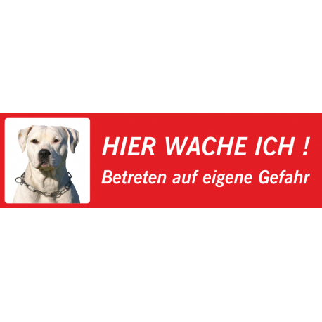 "Perro Pitbull ""Hier wache ich""-Aufkleber (rot, niedriges Modell)"