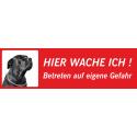 """Schwarzer Bullmastiff """"Hier wache ich""""-Aufkleber (rot, niedriges Modell)"""