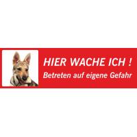 """Saarlooswolfhund (Welpe) """"Hier wache ich""""-Aufkleber (rot, niedriges Modell)"""