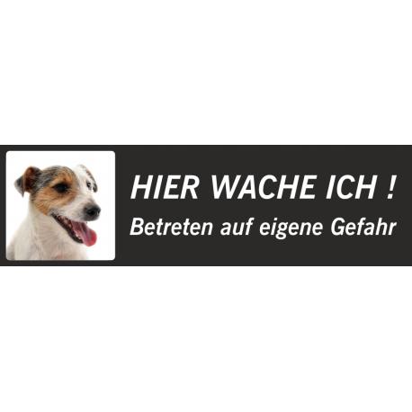 """Jack Russell Terrier """"Hier wache ich""""-Aufkleber (schwarz, niedriges Modell)"""