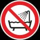 """Schilder """"Verbot, das Gerät in der Badewanne, der Dusche oder über mit Wasser gefülltem Becken zu benutzen"""""""