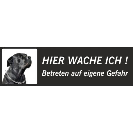 """Schwarzer Bullmastiff """"Hier wache ich""""-Aufkleber (schwarz, niedriges Modell)"""