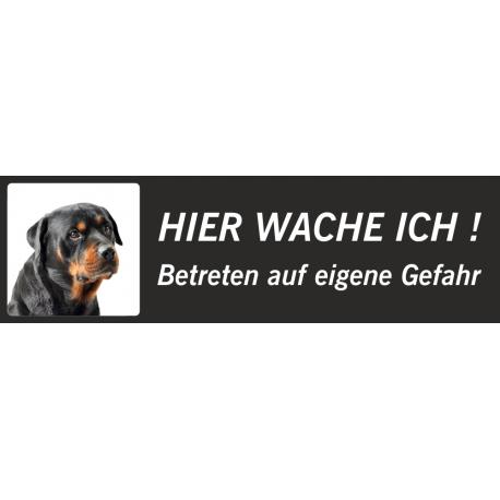 """Rottweiler""""Hier wache ich""""-Aufkleber (schwarz, niedriges Modell)"""