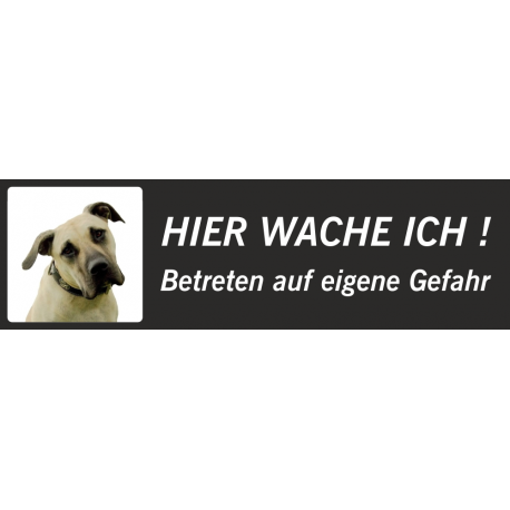 """Anatolischer Hirtenhund """"Hier wache ich""""-Aufkleber (rot, niedriges Modell)"""