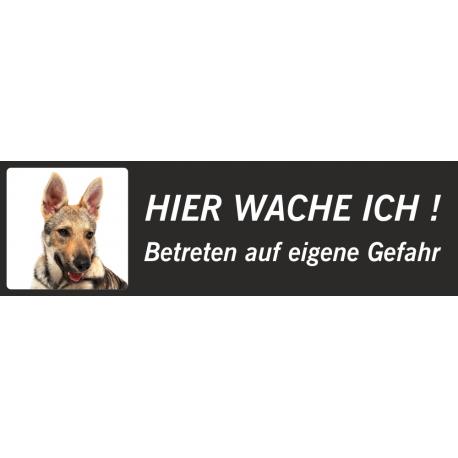 """Saarlooswolfhund (Welpe) """"Hier wache ich""""-Aufkleber (schwarz, niedriges Modell)"""