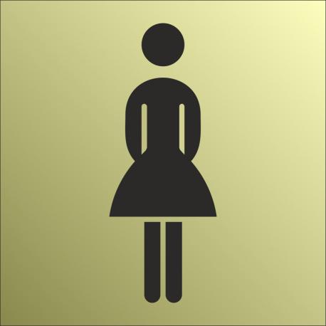 Schilder Damentoilette Gold-Look