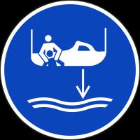 """Schilder """"Bereitschaftsboot fieren beim Aussetzvorgang"""""""