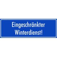"""Schilder """"Eingeschränkter Winterdienst"""" (blau)"""