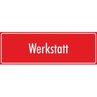 """Aufkleber """"Werkstatt"""" (rot)"""