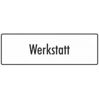 """Aufkleber """"Werkstatt"""" (weiß)"""