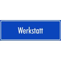 """Aufkleber """"Werkstatt"""" (blau)"""