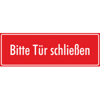 """Aufkleber """"Bitte Tür schließen"""" (rot)"""