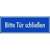 """Aufkleber """"Bitte Tür schließen"""" (blau)"""
