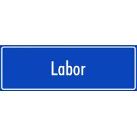 "Aufkleber ""Labor"" (blau)"