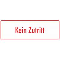 """Aufkleber """"Kein Zutritt"""" (weiß - rot)"""